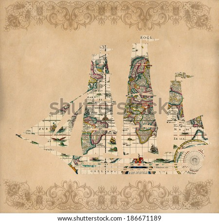 Sailing ship silhouette over antique map - retro postcard on vintage paper background - stock photo