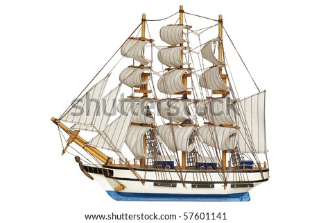 sailing-ship under full sails on white background - stock photo