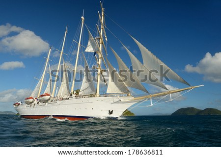 Sailing ship under sail