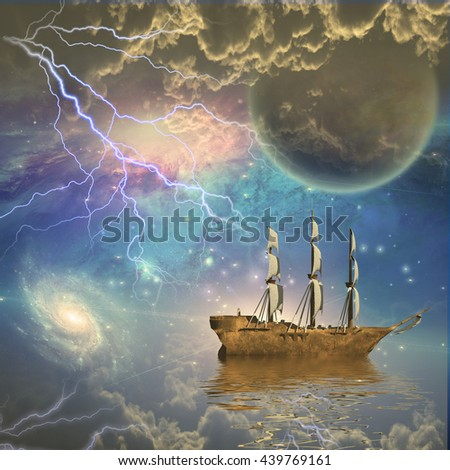 Sailing ship with full sails in fantastic scene 3D Render - stock photo