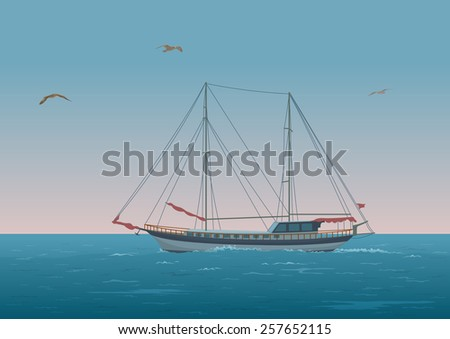 Sailing ship with red sails floating in the morning sea, the birds fly in the sky - stock photo