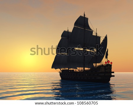 Sailing Ship with Sunset Computer generated 3D illustration
