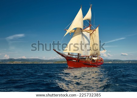 Sailing ship. Yachts and Ships - stock photo