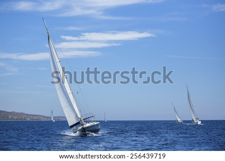Sailing ship yachts with white sails. - stock photo