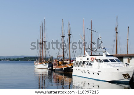 Sailing ships at dock in the Oslo Harbor