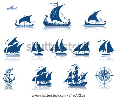 Sailing ships raster Iconset - stock photo
