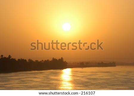 Sailing sunset on the Nile river, Egypt - stock photo