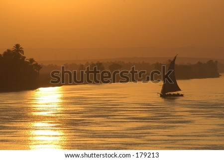 Sailing sunset on the Nile river, Egypt, Africa - stock photo