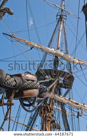 Sailing tackles of an ancient sailing vessel - stock photo