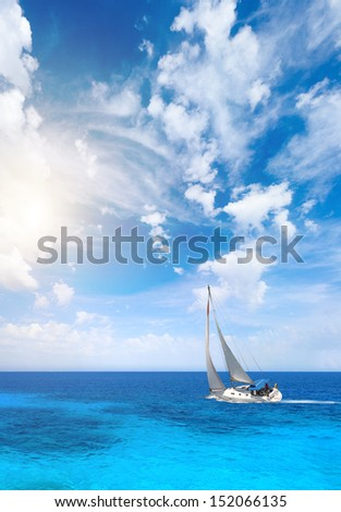 Sailing the Ionian sea in Greece  - stock photo