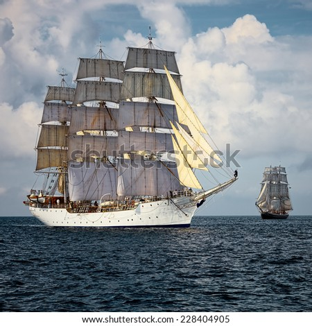 Sailing vessel. A collection of ships and yachts - stock photo