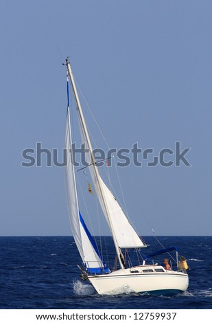 Sailing yacht around the Ionian islands of Greece