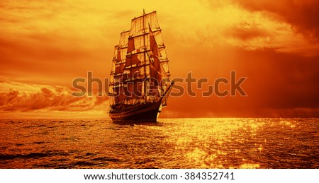 Sailing yacht at sunset in the sea. Instagram effect. Sailing. Yachting - stock photo