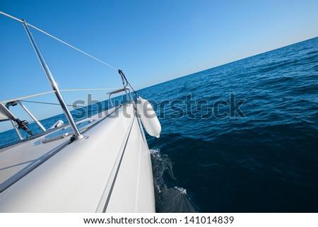 Sailing yacht catamaran sailing in the sea. Sailboat. Sailing. - stock photo