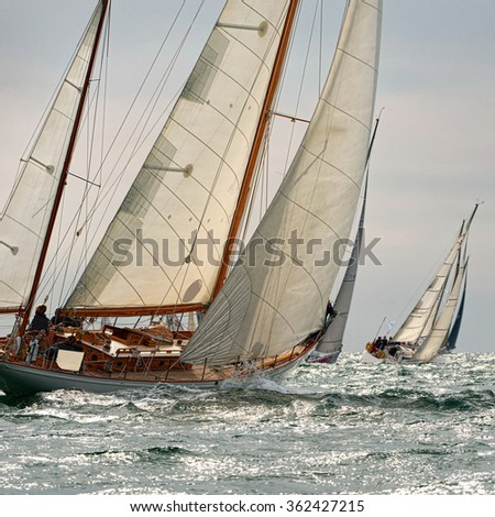 Sailing yacht classic race. Yachting. Sailing - stock photo