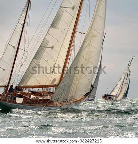 Sailing yacht classic race. Yachting. Sailing - stock photo