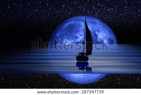 "Sailing yacht illuminated by the light of a full blue moon ""Elements of this image furnished by NASA """