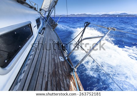 Sailing. Yacht in sailing regatta. Luxury yachts.  - stock photo