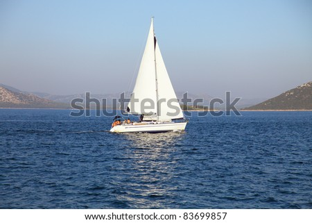 sailing yacht in the adriatic sea - stock photo