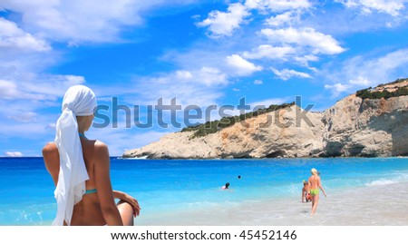 Sailing yacht in the Ionian sea Greece - stock photo