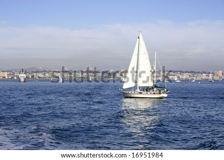 Sailing yacht in the strait, San Diego CA - stock photo
