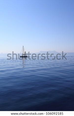 Sailing yacht on Sea - stock photo
