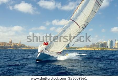 Sailing yacht race. Sail. Yachting. Sailing - stock photo