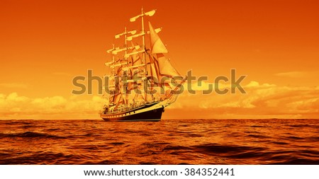 Sailing. Yachting. Sailing ship in a beautiful golden sunset.  Instagram effect - stock photo