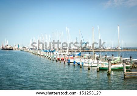 Sailing Yachts in a Marina  - stock photo