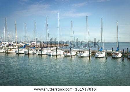 Sailing Yachts in a marina at sunset - stock photo