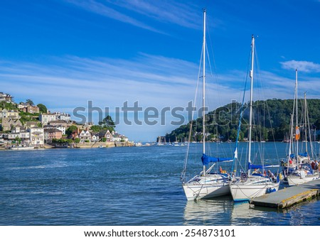 Sailing Yachts Moored on the Dart Estuary at Dartmouth, England