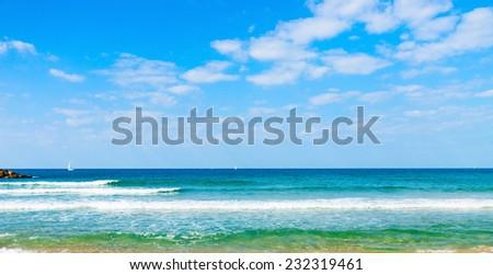Sailing yaht on Mediterranian Sea - stock photo