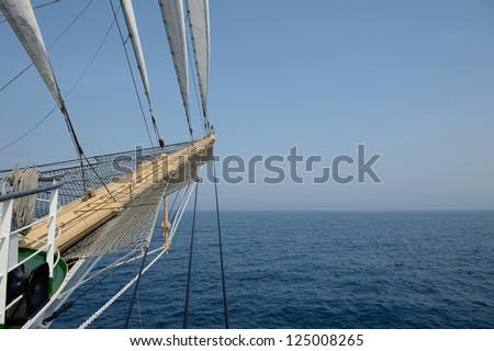 Sailling ship bowsprit - stock photo