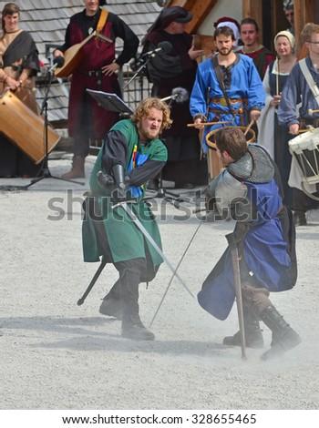 SAILLON, SWITZERLAND - SEPTEMBER 11: performer in Saillon Medieval Festival: March 11, 2015 in Saillon, Switzerland - stock photo