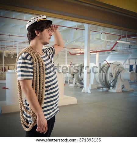 Sailor on ship - stock photo