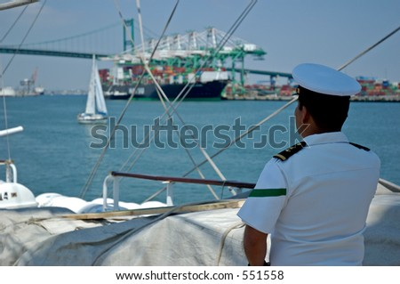 Sailor on watch at Los Angeles harbor. - stock photo