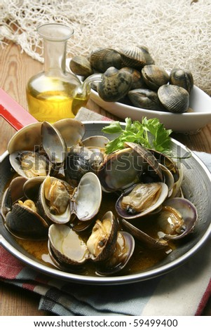 sailor style clams and sherry wine - stock photo