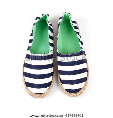 sailor style striped woman shoes isolated on white - stock photo