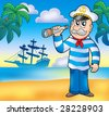 Sailor with spyglass on beach - color illustration. - stock