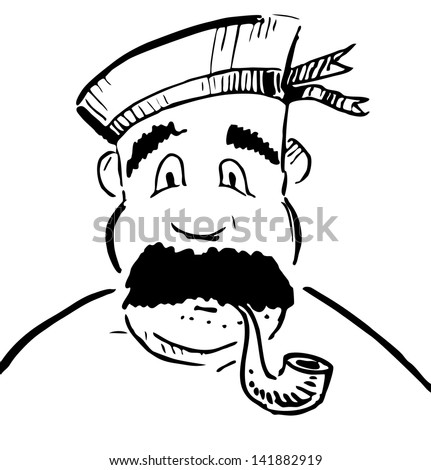 Sailor with tobacco pipe. Sketch illustration - stock photo
