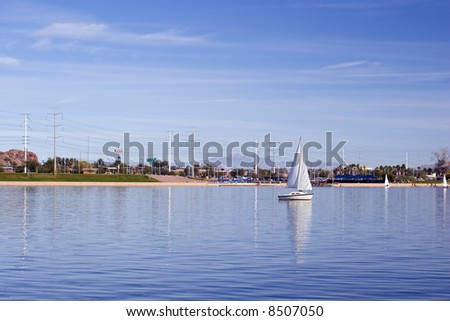 Sailors Weekend at Tempe Lake, Arizona Salt River - stock photo