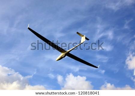 Sailplane  on final glide, Europe soaring sport championship in Pociunai near Kaunas, Lithuania - stock photo