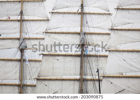 sails of a sailing vessel - stock photo