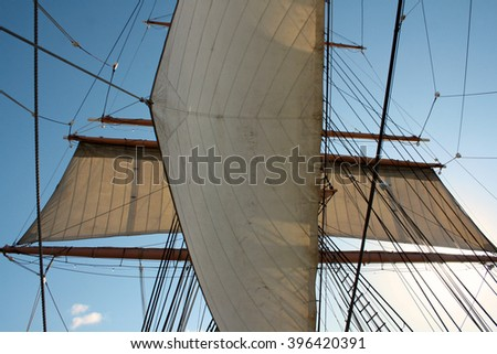 Sails of a tall ship - stock photo