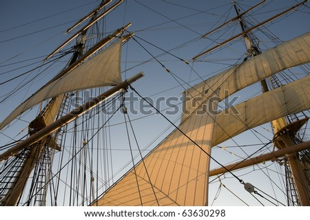 Sails on Historic Ship in San Diego, California with Blue Sky.