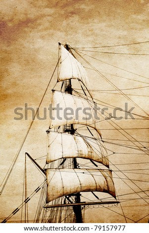 Sails on old paper - stock photo