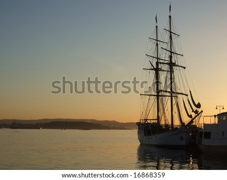 Sailship in the evening - stock photo