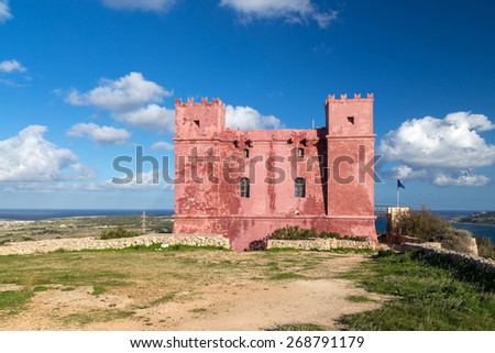 Saint Agatha's Tower also known as The Red tower. It was one of the defensive battlements of Malta. - stock photo