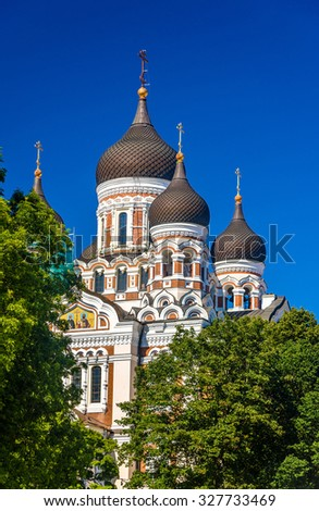 Saint Alexander Nevsky Cathedral in Tallinn - Estonia - stock photo