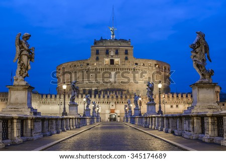 Saint Angel Castle (Castel Sant Angelo) and bridge (Ponte Sant Angelo) over the Tiber river in the morning, Rome, Italy - stock photo